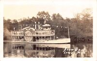 Real Photo Postcard Paddle Wheel Steamer Show Boat in Lowell, Michigan~127718