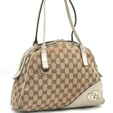 Authentic GUCCI Hand Bag GG Canvas Leather Brown 97309