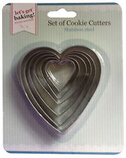Heart Cookie Cutter Set of 6 Sizes, Metal Nested Biscuit Cutters, Valentines Day