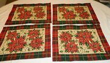 4 Red, Green, Cream & Gold Metallic Plaid Christmas Poinsettia Place Mats