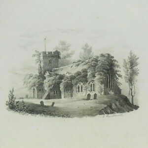 Antique English C19th Miniature PENCIL DRAWING of a Church SIGNED c1840 1 of 2