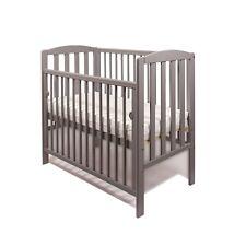 Grey Tobie Cot Baby Mini Cot Space Saver Cot Compact Cot + Foam Mattress 100x50