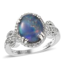 925 Sterling Silver Platinum Over Opal Triplet Zircon Halo Ring Size 7 Ct 2.8