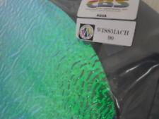 "Dichroic Glass Sheet:CBS Aqua on Rippled Black - 90COE 3""Sq"