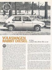 1977 VW Volkswagen Rabbit Diesel  Original Car Review Print Article J532