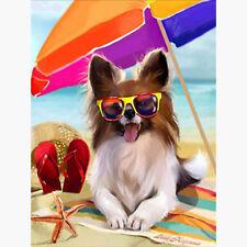 COOL BEACH DOG MOSAIC DIAMOND PAINTING KIT 5D CROSS STITCH KIT, UK Seller