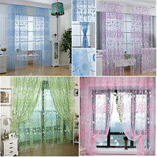 1PC Home Floral Tulle Window Curtain Door Curtain Drape Panel Voile Sheer Scarf