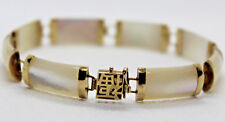 """MOTHER of PEARL BRACELET BARREL LINK 10K YELLOW GOLD Safety Clasp 7.5"""" L  NEW!"""