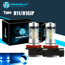 2X IRONWALLS H11 H9 H8 100W LED 8000K ICE BLUE Projector Fog Driving Light Bulbs
