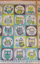 "Whooo Loves You Owl Blue/Grey Northcott Baby Kids Fabric 23"" Panel   #6931"
