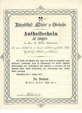 Bohrgesellschaft Wilhelm Oberhausen histor. Anteil 1873 Mülheim Styrum Bergbau