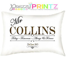 PERSONALISED PILLOW CASES WEDDING LEOPARD KEEPSAKE GIFT ANNIVERSARY MR & MRS
