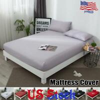 Mattress Protector Elastic Solid Breathable Soft Cover Bed Decor Pillow Case US