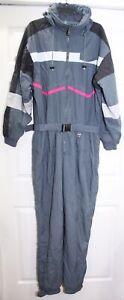 Vintage 1980s Subello Celtech Full Body Ski Snow Suit Mens Sz XL Gray Pink Black