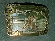 COMSTOCK German SILVER BELT BUCKLE Rodeo Horse / Pony Rider Silversmiths As New