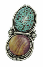 Ben Begaye, Ring, Turquoise Mountain, Spiny Oyster Shell, Silver,Navajo Made,7.5