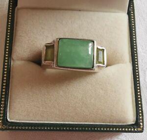 Vintage Sterling Silver Jade Lovely Ring, Size L