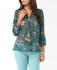 Forever 21 NWT Sheer Floral Print Button Up Shirt/Blouse/Top, S