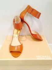 Michael Kors Woman Guiliana Leather Open Toe Heel Sandals Luggage 8.5M NEW