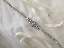 ANA Bridal Sash, Rhinestone, Wedding Dress Sash, Bridal Belt, Diamante White