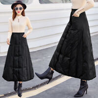 Women Winter Warm Down Quilted Padded Long Skirt High Waist A-Line Dress Black