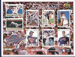 John Smoltz signed Atlanta Braves 1992 Upper Deck NL Champions team sheet