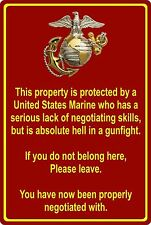 "Property Protected by Marine Usmc Marine Corps 8"" x 12"" Aluminum Metal Sign"