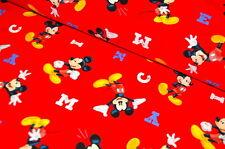 DISNEY Mickey Mouse USA TESSUTO DESIGN 0,5 m mouse FUMETTI RARI mouse Retrò RED