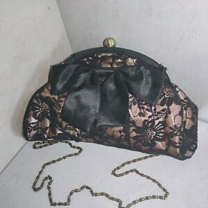 Atmosphere ladies evening nude / black lace clutch bag with chain shoulder strap