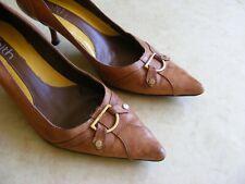 """Señoras Fe Marrón Tacones Zapatos Talla 6 2"""""""