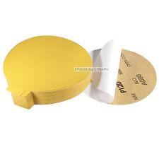 "50Pc 6"" 120 Grit DA Gold A/O PSA Stick On Sandpaper Sanding Disc Made in USA"