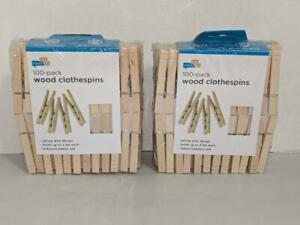200 Wood Clothespins Spring Wire Design Honey Can Do Crafts Laundry New -0820