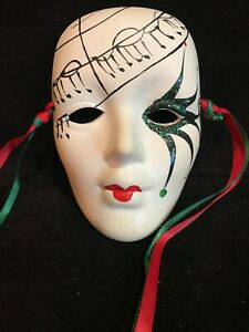 "Vintage Hand Painted Musical Design Mask~4"" High"