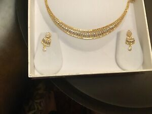 Stunning 22K Solid Gold Necklace with Earrings