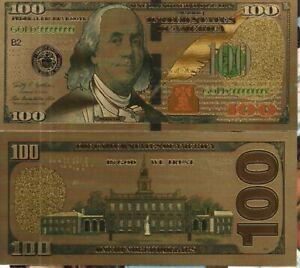 Billet souvenir  100 Dollars US sur support métal OR