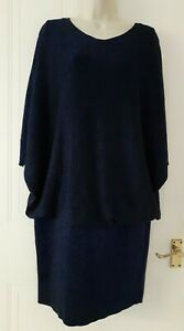 Phase Eight Womens Smart Party Black-Blue Metallised Fabric Dress Sz 16~Immacula