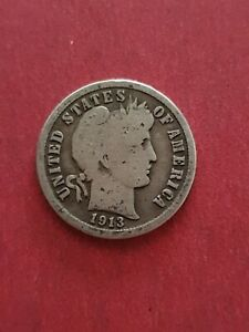 1913 Barber SILVER One Dime USA