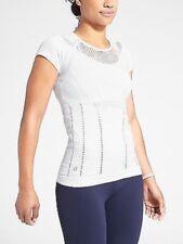 Athleta Diamond Mesh Trophy Tee Top, Bright White, Size S, NWT