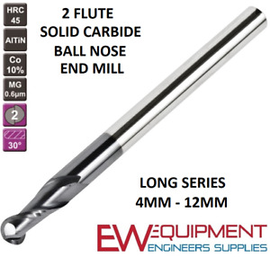 CARBIDE BALL NOSE LONG SERIES SOLID  2 FLUTE ALTiN COATED END MILL 4MM - 12MM