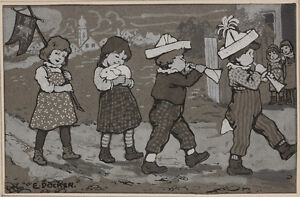 """E. Doecker the Younger (Vienna Illustrator) """"Playing Children"""", Drawing, ca.1900"""