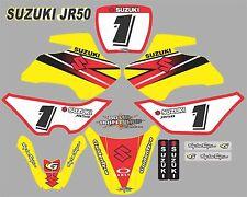 Suzuki JR50 YELLOW & RED Graphics Decals Fullset laminated stickers motocross