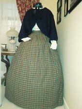 Civil War Reenactment Ladies SZ26 Black Wool Zouave Jacket and  Homespun Skirt