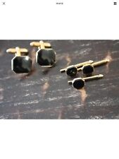 Swank cufflinks vintage Gold Platted With Black Onyx