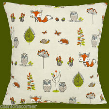 Foxes Owls Woodland Animals Cushion Cover 16 inch 40cm Snail Hedgehog Toadstool