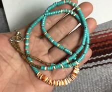 """spiny oyster shell /turquoise heishi necklace/22.5""""(b166-w0.5)"""