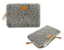 "Leopard 15"" 15.4"" 15.6"" Computer Case Sleeve Canvas Laptop Cover Bag For Dell HP"