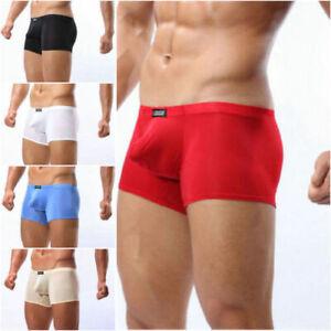 Men Sexy Brief Underwear Cool Bulge U convex Pouch boxer ice silk Pants M-XL