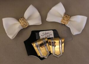 New VINTAGE IVORY GROSGRAIN Ribbon Bow SHOE CLIPS & GOLD Silver Metal Clips