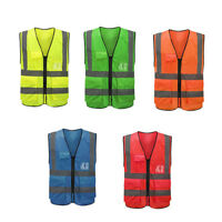 High Visibility Safety Vest With Zipper Reflective Jacket Security Traffic