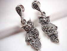 Owl Marcasite Stud Earrings Sterling Silver Corona Sun Jewelry bird night wise